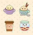 set of bakery food kawaii characters vector image