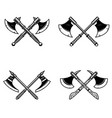 set of crossed medieval axe isolated on white vector image vector image