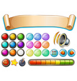 Set of game elements with banner and buttons vector image vector image