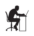 silhouette of man working at computer vector image vector image