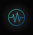 sound wave blue round icon in thin line vector image