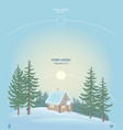 sun over small house in forest and snowdrift vector image vector image