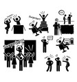 surprise and prank stick figure pictogram icons a vector image