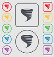 Tornado icon Symbols on the Round and square vector image