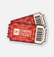 two cinema tickets with barcode vector image vector image