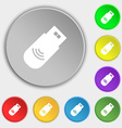 usb Icon sign Symbol on eight flat buttons vector image