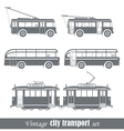 Vintage city transport vehicles set vector image vector image