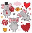 set of isolated elephant in love part 3 vector image