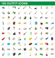 100 outfit icons set cartoon style vector image vector image