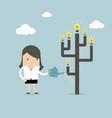 businesswoman watering idea tree vector image vector image
