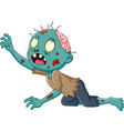 cartoon zombie crawling isolated on white backgrou vector image vector image