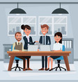 colorful background workplace office with teamwork vector image