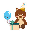 cute bear gift balloon kawaii birthday vector image vector image