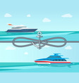 cute seascape and two sea vessels colorful banner vector image vector image