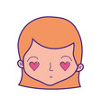cute woman head with hairstyle and heart eyes vector image vector image