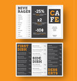 design a trifold menu for cafes and vector image vector image