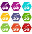 eco berry icons set 9 vector image