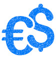 euro and dollar currency grunge icon vector image vector image