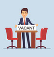 flat character businessman manager invites for vector image