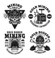 goldminer company set four retro emblems vector image vector image