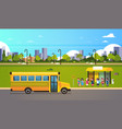 group pupils children waiting yellow school bus vector image vector image