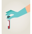 hand holding test tube vector image