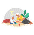 happy grandmother playing with grandson sitting vector image vector image