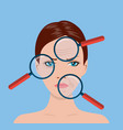 magnifier magnifying the woman vector image