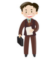 man in brown suit with briefcase and paper vector image