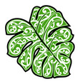 maori ethnic ornament on monstera leaf vector image