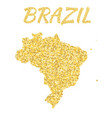 map of brazil in golden with gold yellow vector image