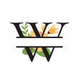 monogram floral split letter design vector image