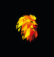 multi-colored lion head logo design template vector image