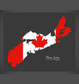 nova scotia canada map with canadian national flag vector image vector image