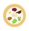 passover holiday seder plate flat design icon vector image