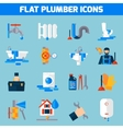 Plumber Service Flat Icons Set vector image