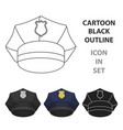 police cap icon in cartoon style isolated on white vector image vector image