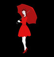 pretty girl in red dress with umbrella vector image vector image
