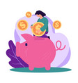 saving salary or earnings investment in piggy vector image
