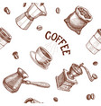 seamless hand drawn pattern with coffee engraving vector image