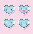 set of cute hearts cartoons vector image