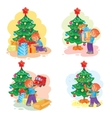 Set of icons little boy opening Christmas presents vector image vector image