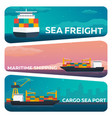 set of sea transportation logistic sea freight vector image