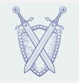 shield with swords hand drawn sketch vector image vector image