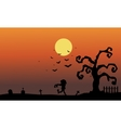 Silhouette of zombie in the tomb halloween vector image vector image