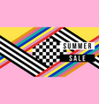summer sale web banner in colorful retro style vector image