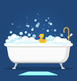 vintage bath and soap foam bubbles vector image vector image