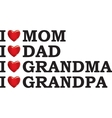 I love my parents vector image