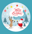 Santa Claus and Reindeer Drinking Champagne Label vector image