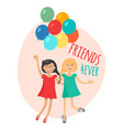 happy girls with colorful balloons friends forever vector image